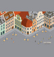 isometric colored old town composition vector image vector image