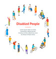 isometric disabled people characters banner card vector image