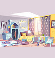 kids bedroom in mess cartoon vector image