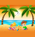 little boy and girl cartoon making sandcastle at t vector image vector image