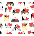 Lovers set of silhouettes seamless pattern Heart vector image