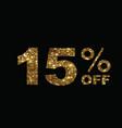 luxury golden glitter fifteen percent off special vector image vector image