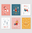 merry christmas cards collection vector image