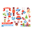 merry christmas icons retro style elements and vector image vector image