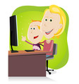 mom and son surfing on the net vector image