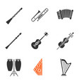 musical instruments glyph icons set vector image