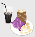 Open Bag of Chips with A Delicious Iced Coffee vector image