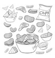 outline chips collection on white background vector image vector image
