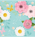 paper cut flowers seamless pattern spring origami vector image
