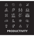 productivity editable line icons set on vector image vector image