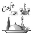 restaurant elements - cup wine glasses vector image