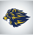 roaring lion logo template blue yellow vector image vector image