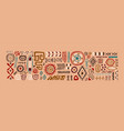 set abstract african tribal geometric shapes vector image
