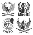 set emblems with knights helmets and vector image vector image