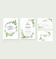 set greenery wedding invitation card template vector image vector image