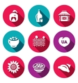 Set of Ukraine Icons Kazak Vodka Village vector image vector image