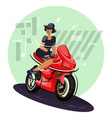 sexy young female sitting on motorbike vector image