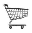 shopping cart sketch engraving vector image vector image