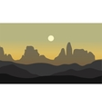 silhouette of desert with moon vector image