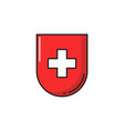 swiss quality red shield with white cross isolated vector image