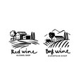 vineyards with house emblem for liquor store vector image