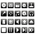 White media icons on black squares vector image vector image
