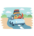 woman in car on road vector image