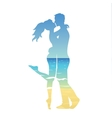 young couple and ocean landscape vector image