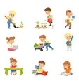 adorable little kids reading books and working in vector image vector image
