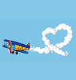 airplane flying in sky and heart shaped smoke vector image vector image