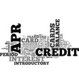 apr credit card benefits text word cloud concept vector image vector image