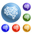 artificial brain icons set vector image