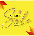 autumn sale with 3d realistic text season offer vector image vector image