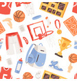 basketball sportswear and ball in net hoop vector image