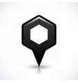 Black blank map pin sign hexagon location icon vector image vector image