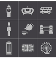 black london icons set vector image