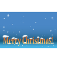 blue background - merry christmas with snow vector image vector image