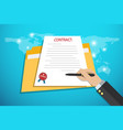 businesshand holding pen to signing contract vector image vector image