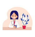character of a woman doctor in flat style vector image
