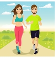cheerful couple running outdoors vector image vector image