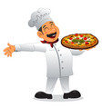 chef holding a plate of pizza vector image