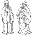 chinese elders line art vector image