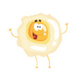 cute cartoon fried egg with smiley face funny vector image vector image