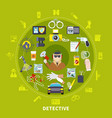 detective round composition vector image vector image