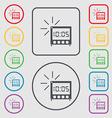 digital Alarm Clock icon sign Symbols on the Round vector image
