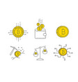 digital gold bitcoin concept icon set vector image