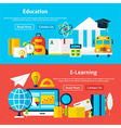 Education and E Learning Flat Website Banners vector image vector image