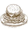 engraving hamburger vector image vector image