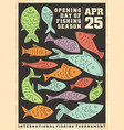fishing opening season artistic poster design vector image
