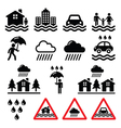 Flood natural disaster heavy rain icons set vector image